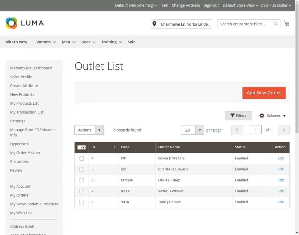 Magento2 Marketplace Hyperlocal System_outlet_list