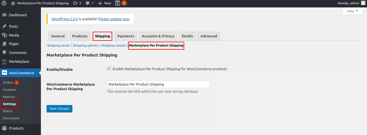 marketplace per product shipping