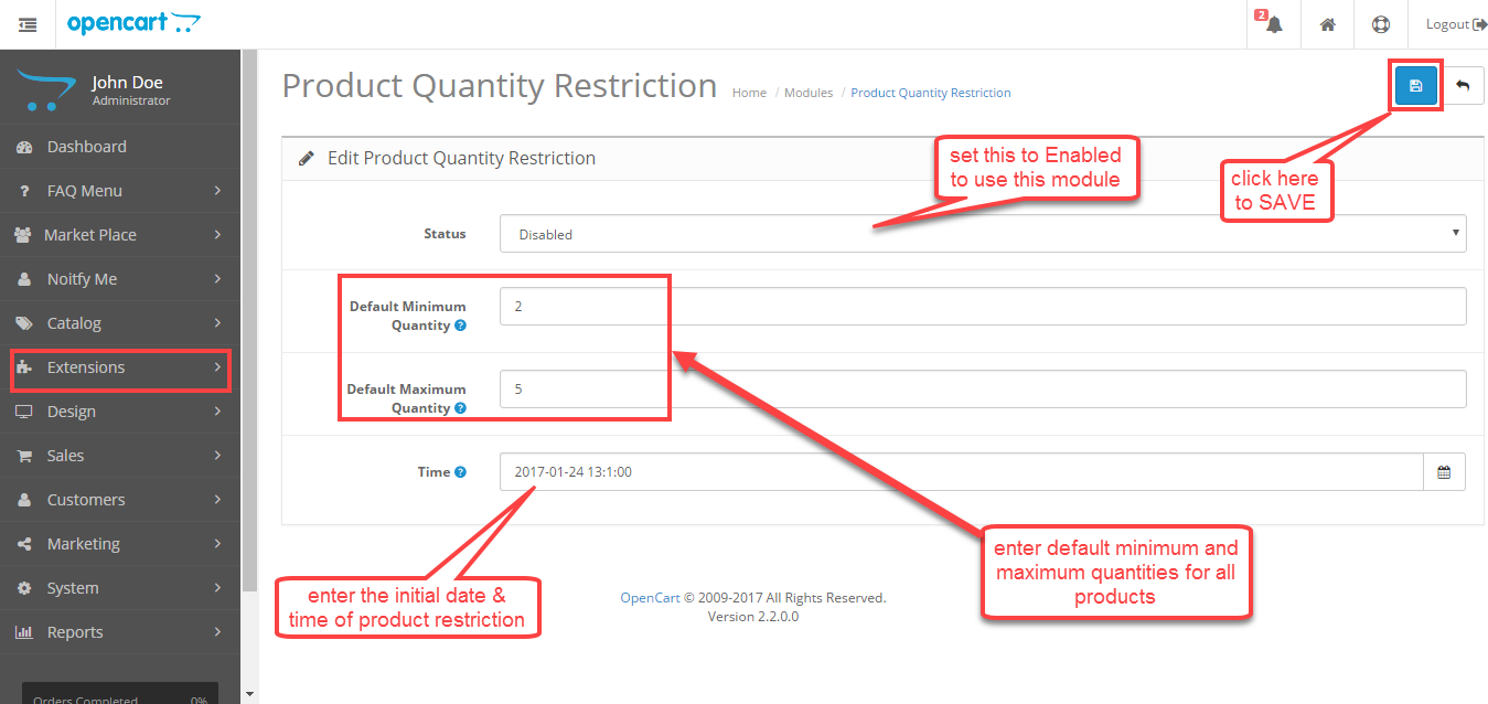Product quantity restrictions