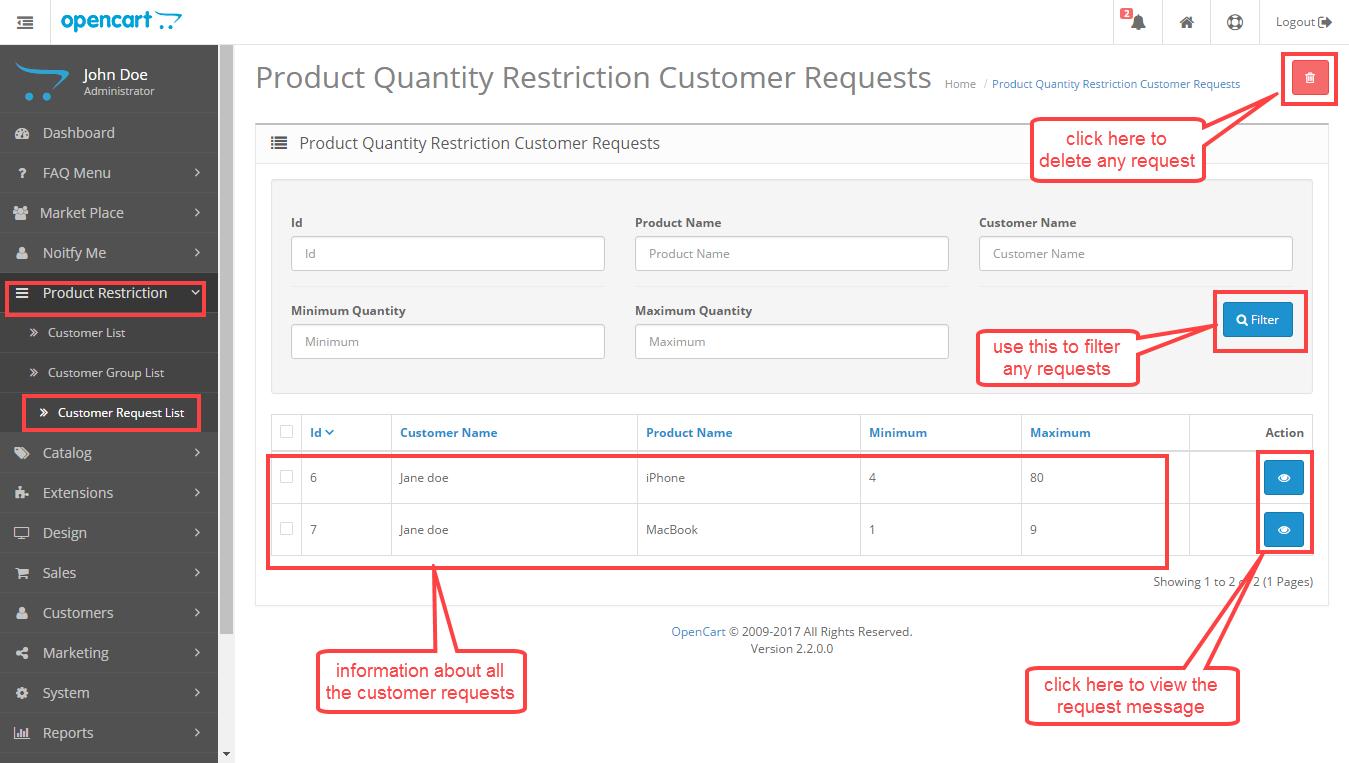 customer requests list