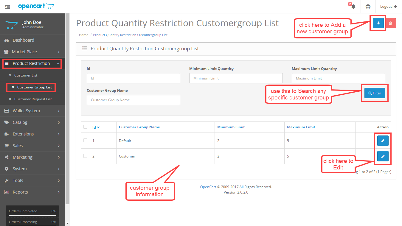 product quantity restriction on customer group list