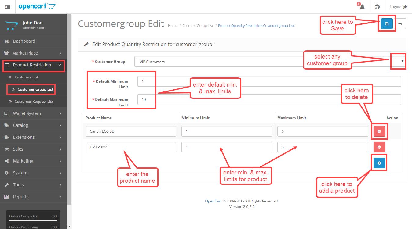 Customer group edit