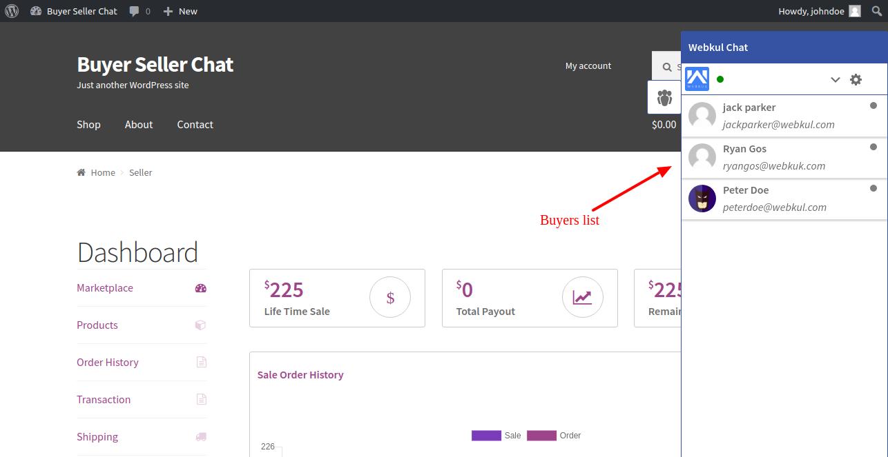 WordPress WooCommerce Marketplace Buyer Seller Chat