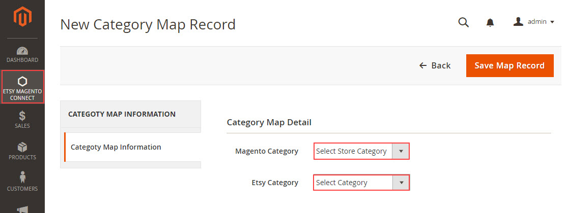 etsy category mapping with magento 2