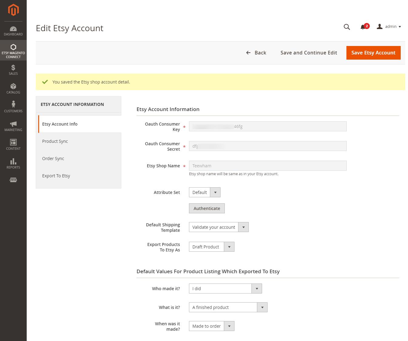 webkul-magento2-etsy-connector-admin-edit-etsy-account-not-autyhenticated-credentials