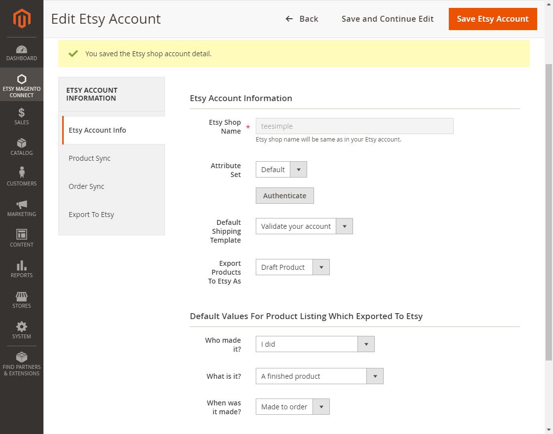 webkul-magento2-etsy-connector-admin-edit-etsy-account-not-autyhenticated