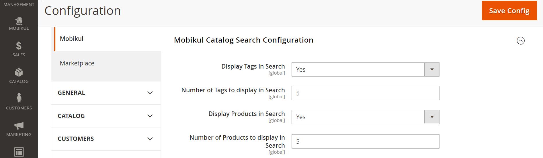 Mobikul catalog search configuration