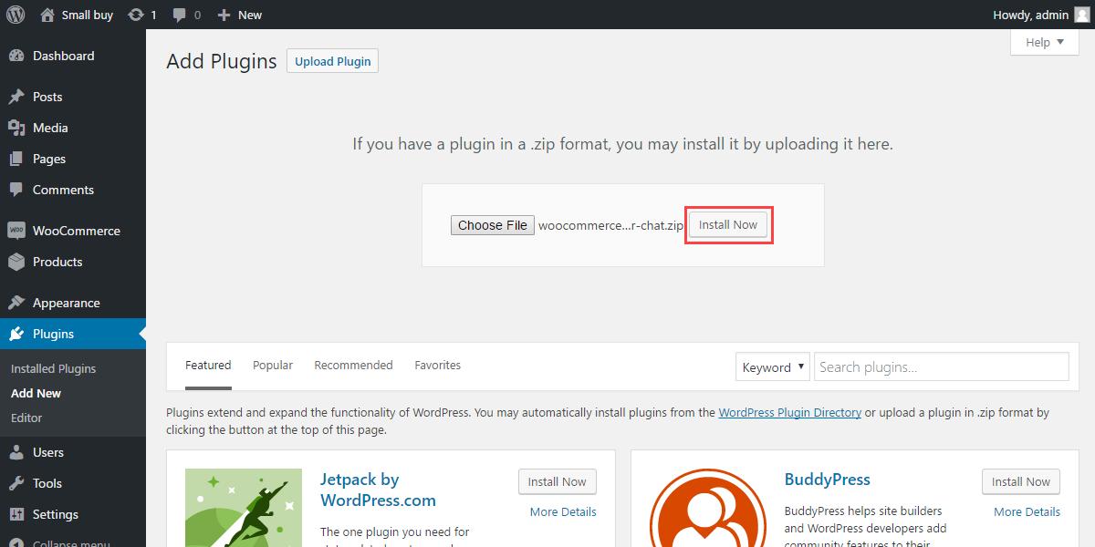 WordPress WooCommerce Admin Buyer Chat