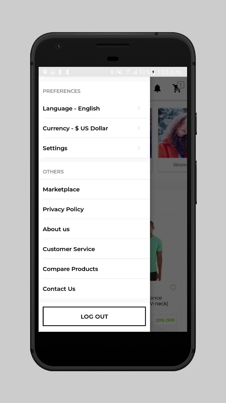 webkul-magento2-ecommerce-marketplace-mobile-app-left-navigation-preferences