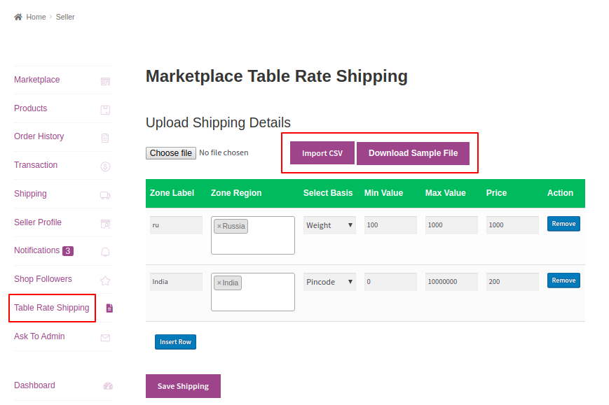 Marketplace Table Rate Shipping
