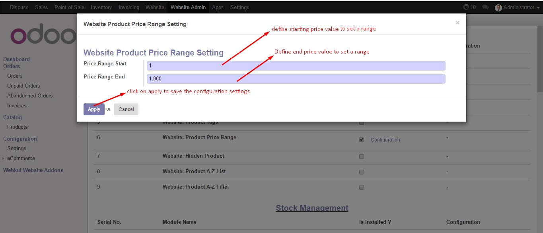 Odoo Website Product Price Range
