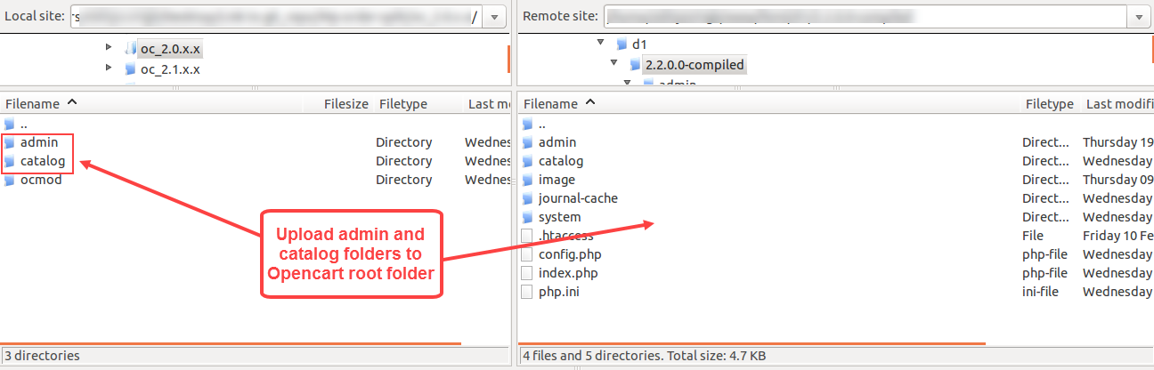 upload admin and catalog folders to root