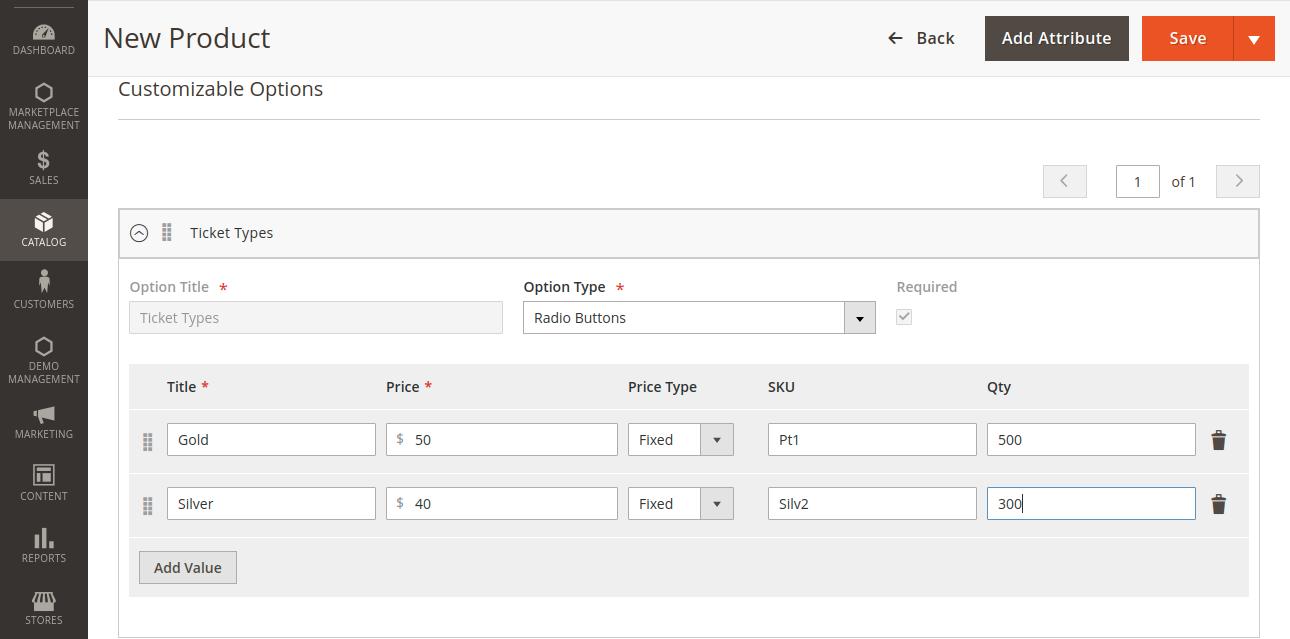 customizable option