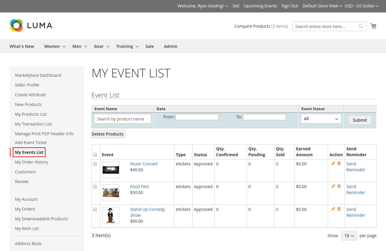 My event list