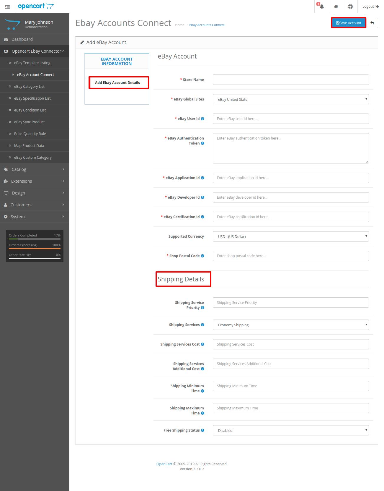 Add-ebay-account-details