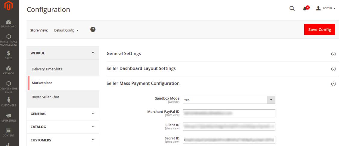 webkul- Marketplace Mass PayPal Payment-module-configuration
