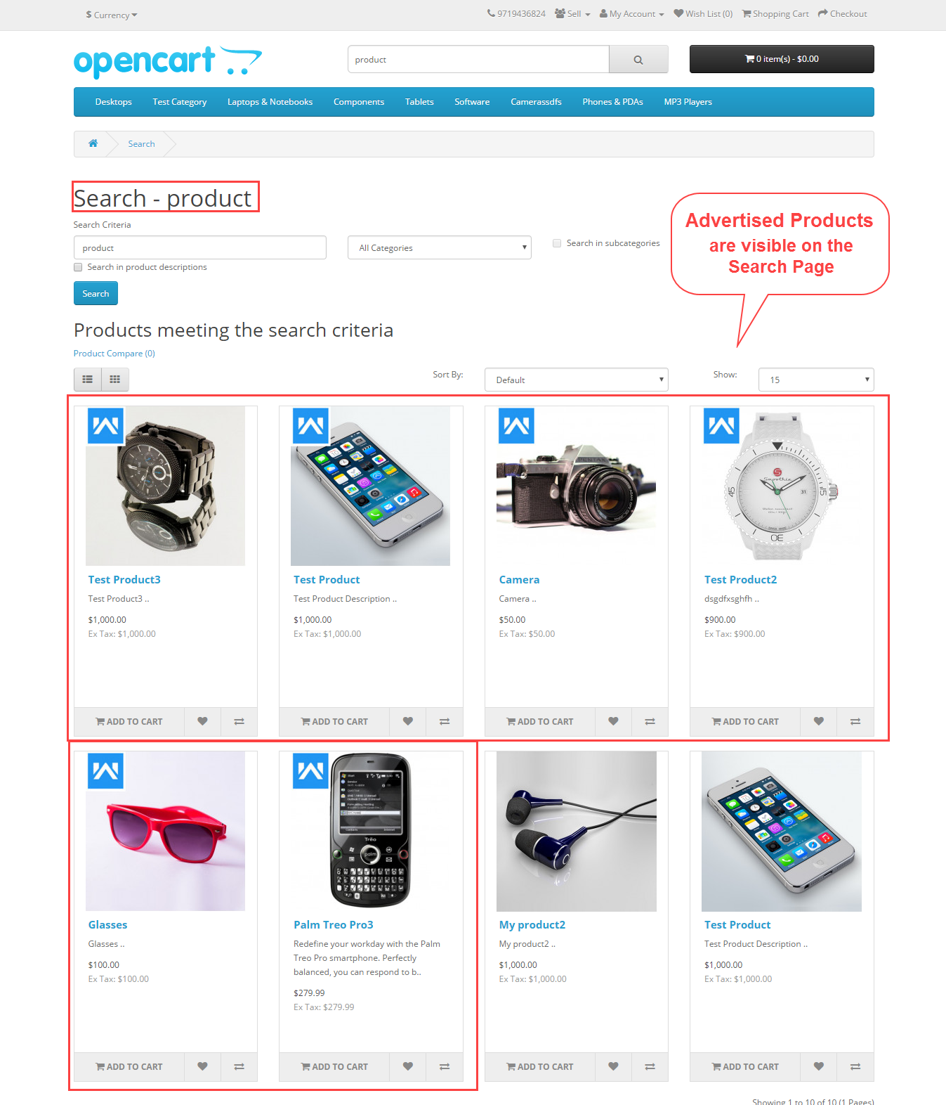 search page Opencart Marketplace Advertisement System