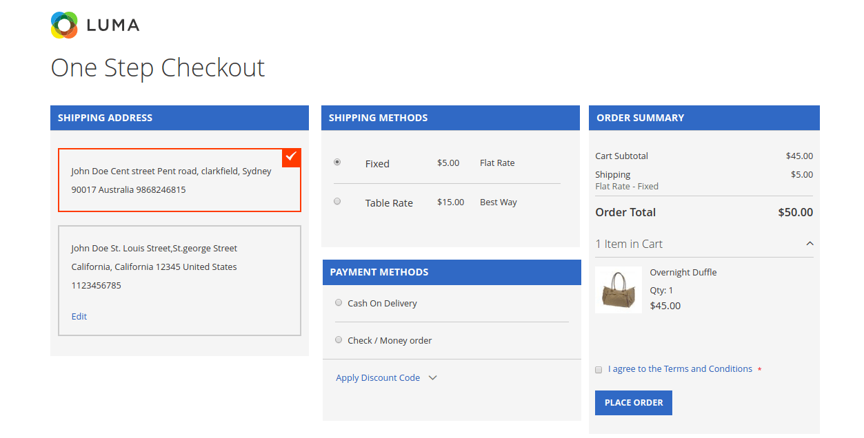 Magento 2 One Step / Page Checkout | Multi Vendor One Step