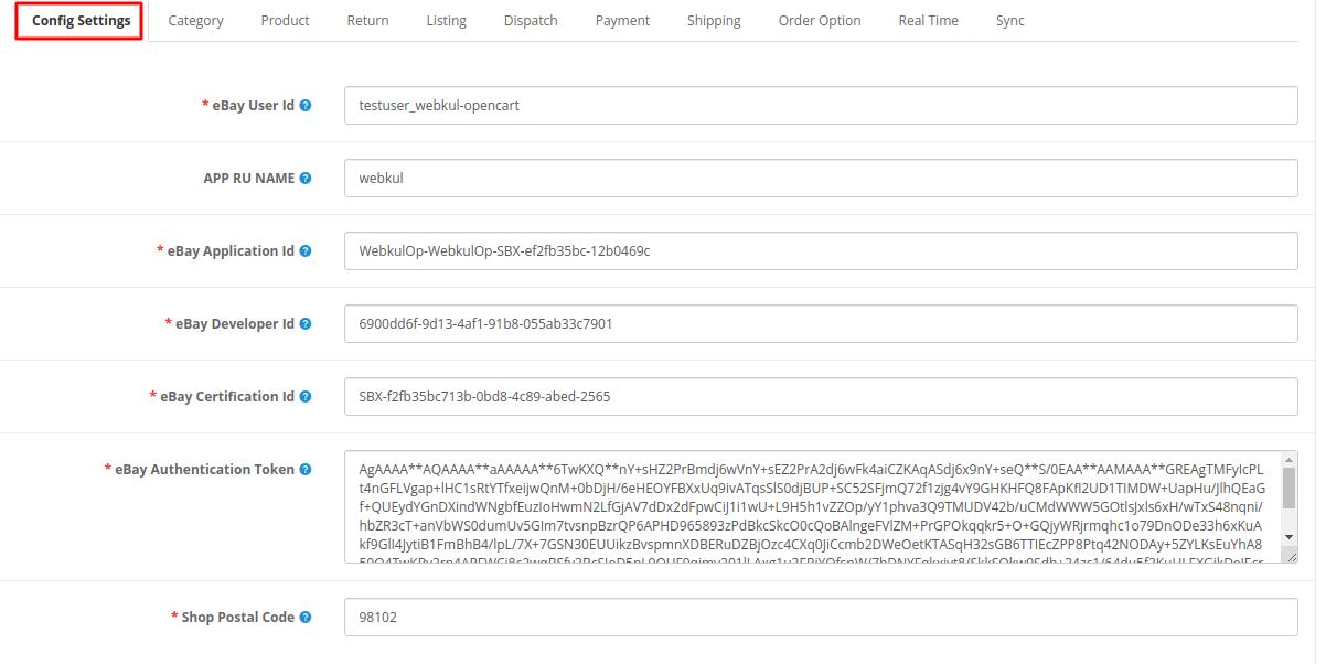 Webkul-opencart-ebayconnector-generalconfig