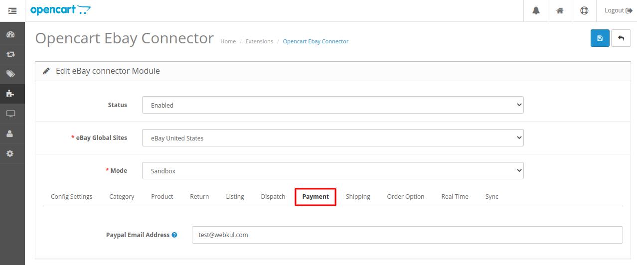 Webkul-opencart-ebayconnector-payment-option