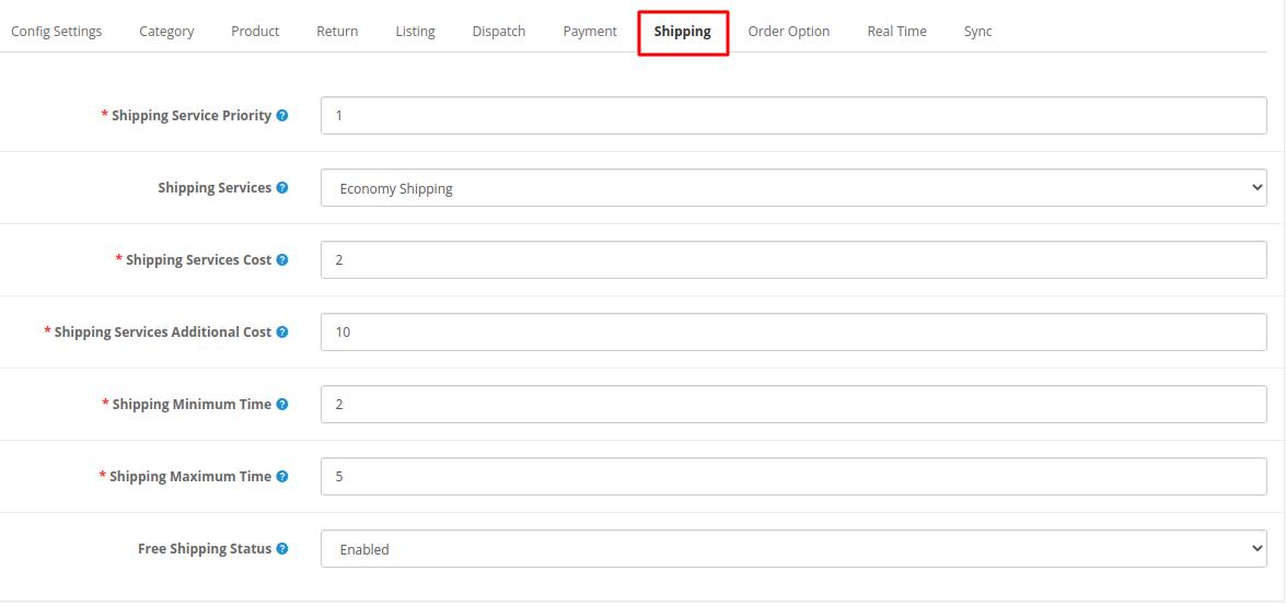 Webkul-opencart-ebayconnector-shipping-option