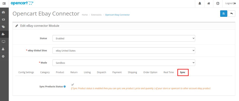 Webkul-opencart-ebayconnector-sync-option