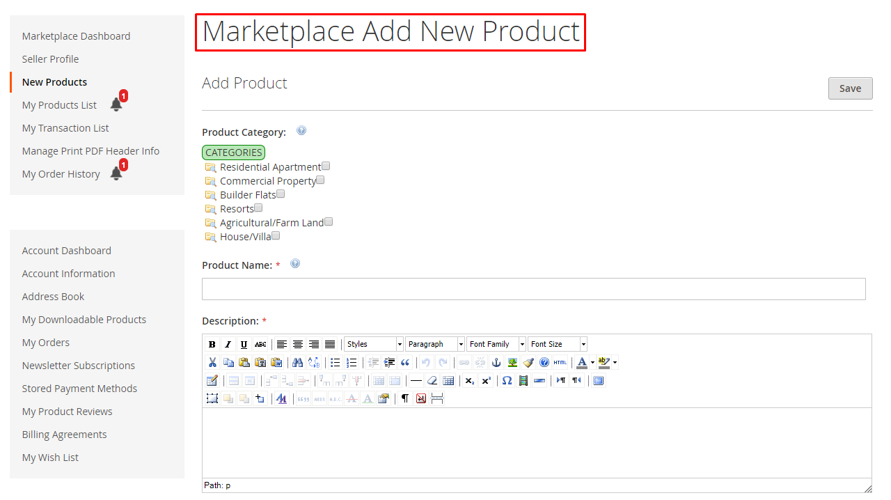 add rental product - seller