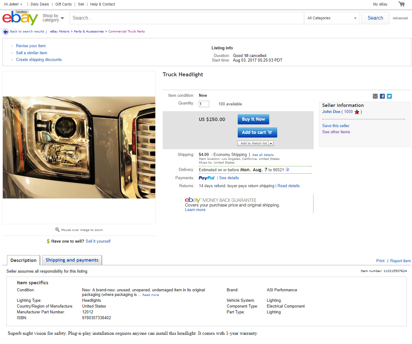 eBay Imported item