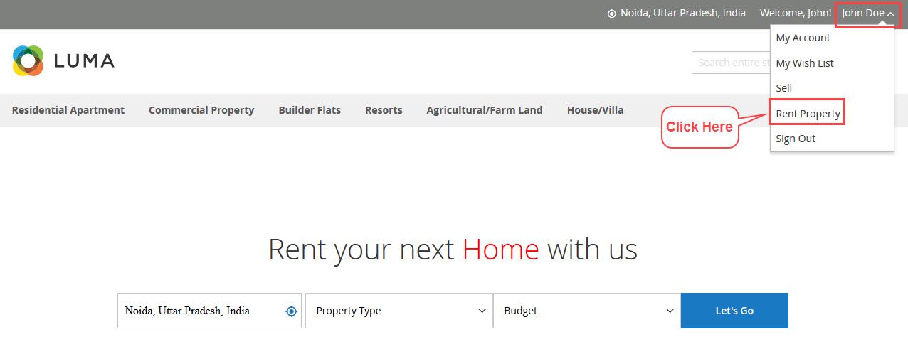 rent property menu option