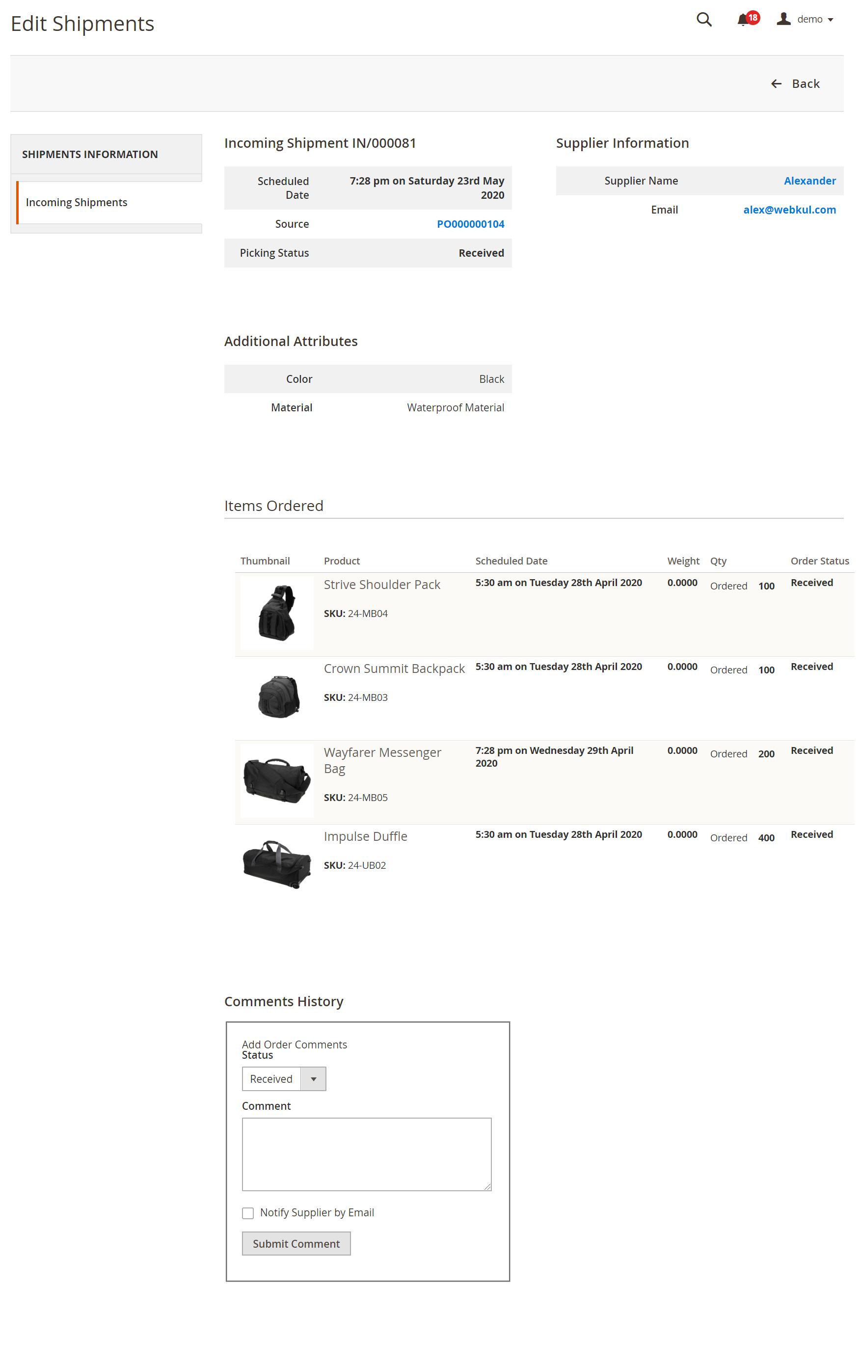 Purchase Management_shipment_information
