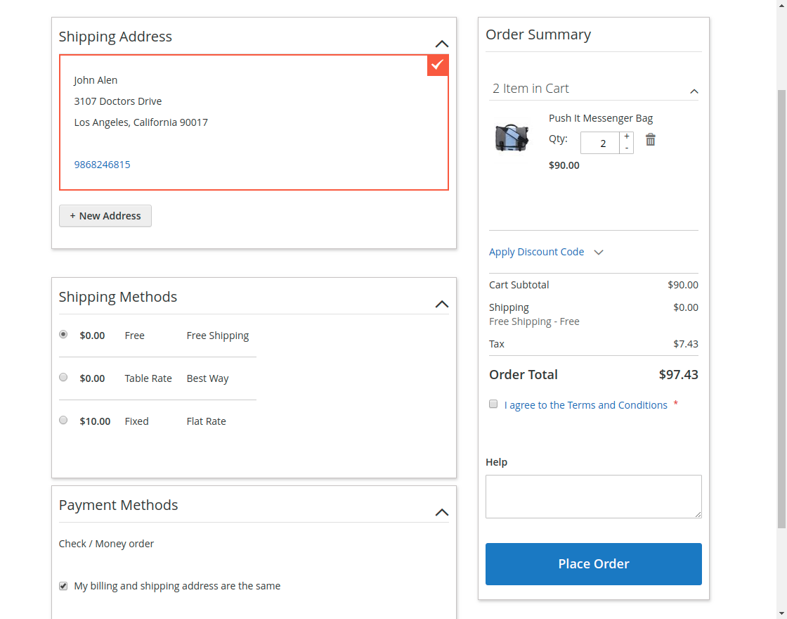 Magento 2 One Step Checkout - two_column