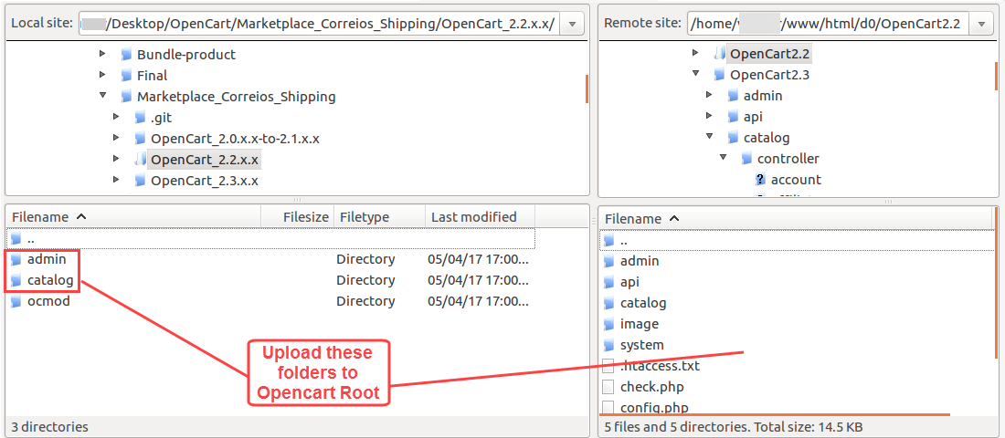 upload folders to root