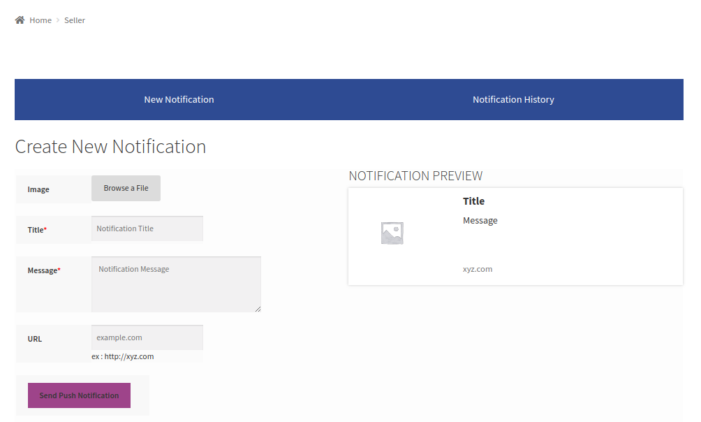 Marketplace Web Push Notification