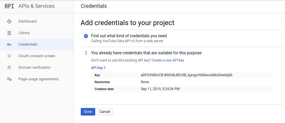 Add API credentials