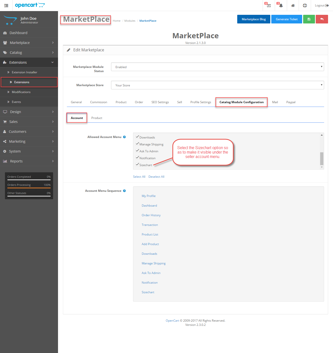 Catalog-Module-Configuration Opencart Marketplace Product Size Chart