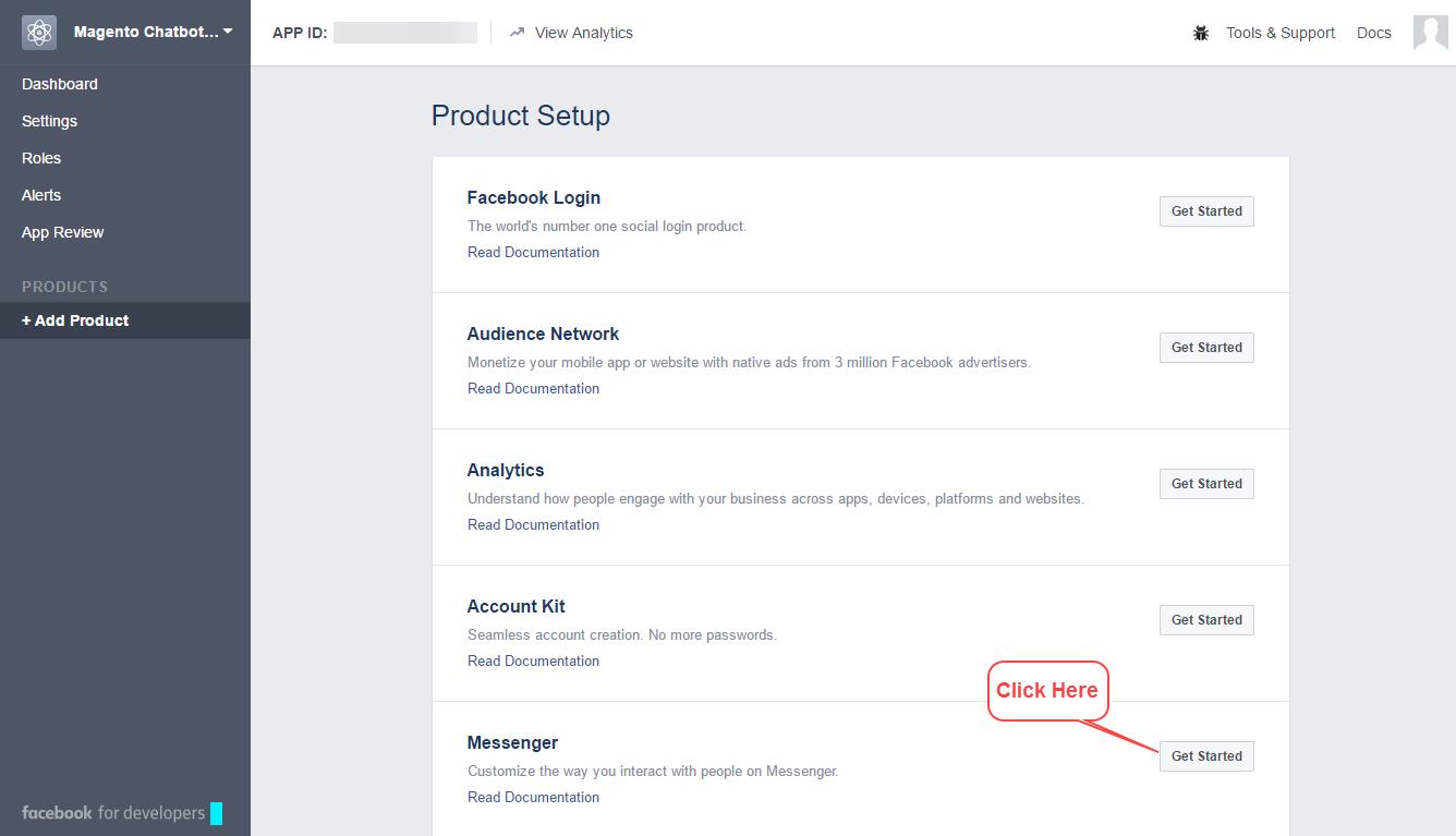 magento facebook chat bot - messenger get started