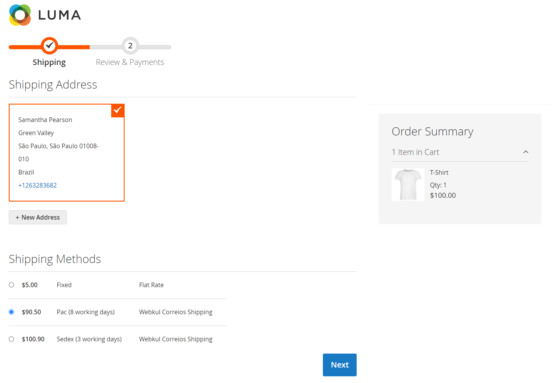 checkout -Webkul Correios Shipping