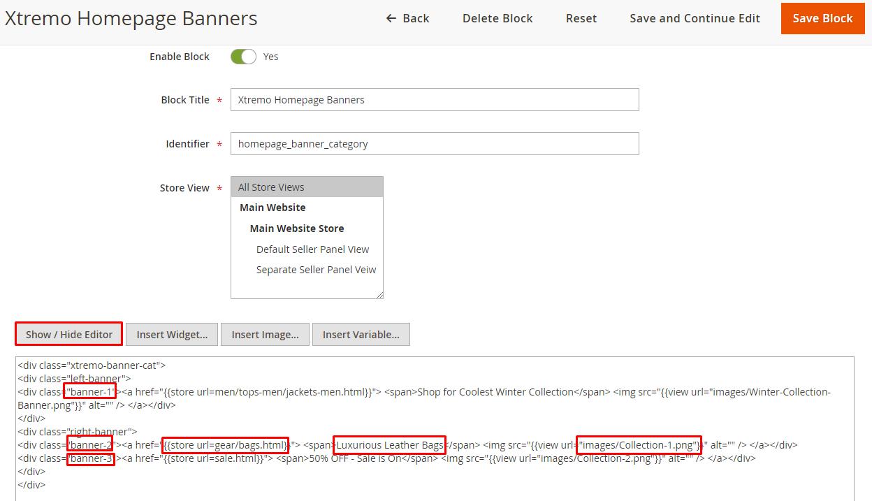 banners html code edit