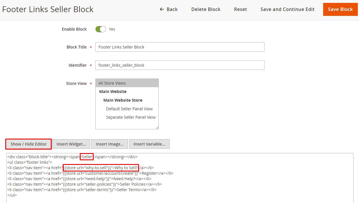 footer links seller block