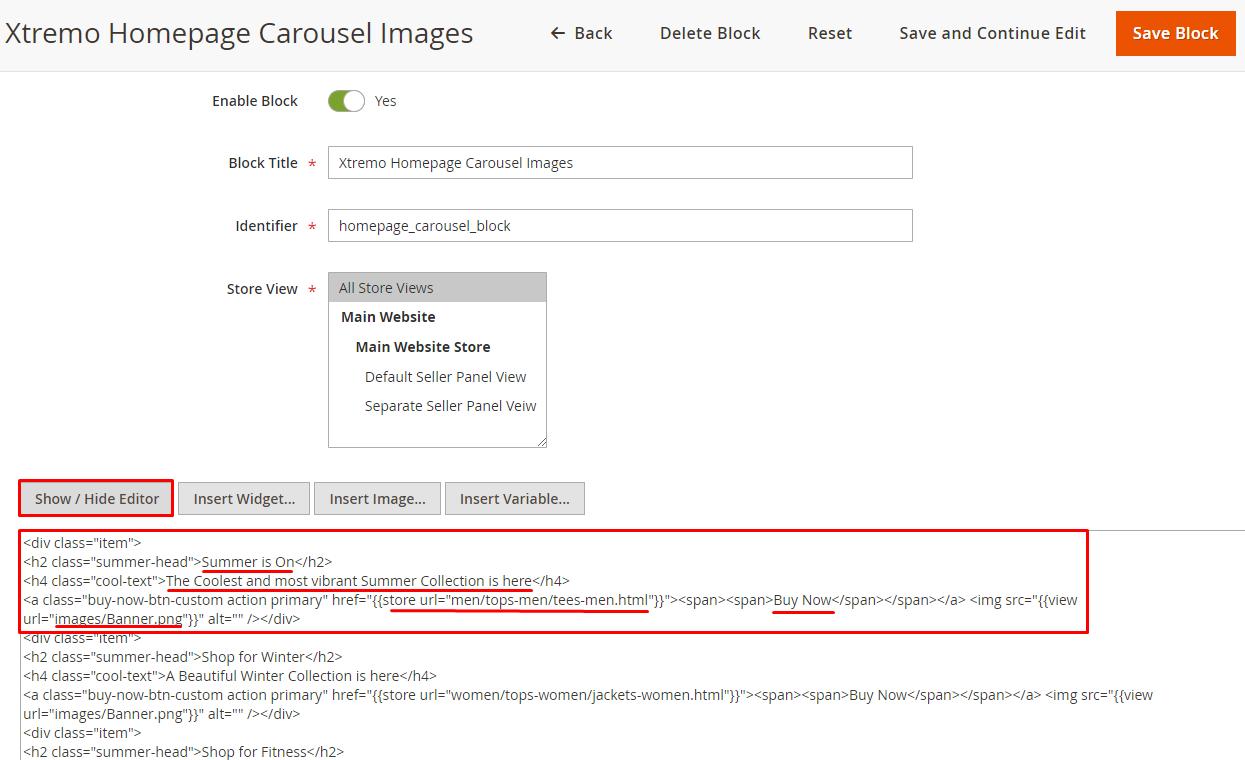 homepage carousel html code edit
