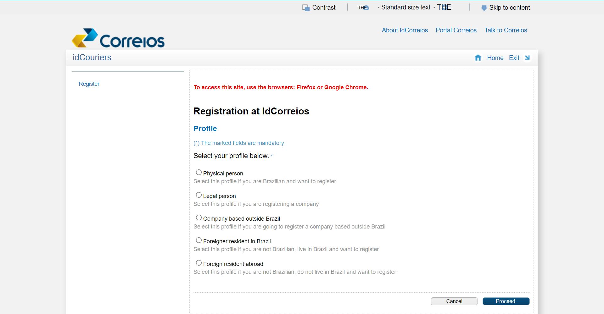 Registration at IdCorreios