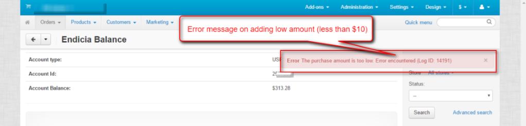 low amount error