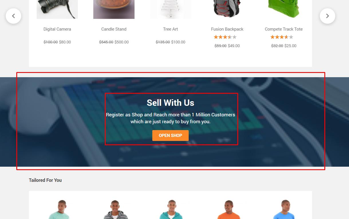 marketplace block on homepage