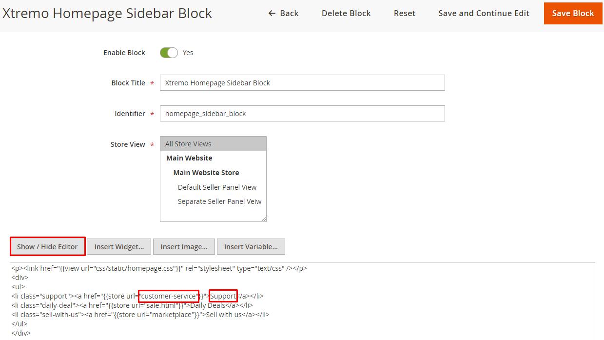 marketplace sidebar block code edit