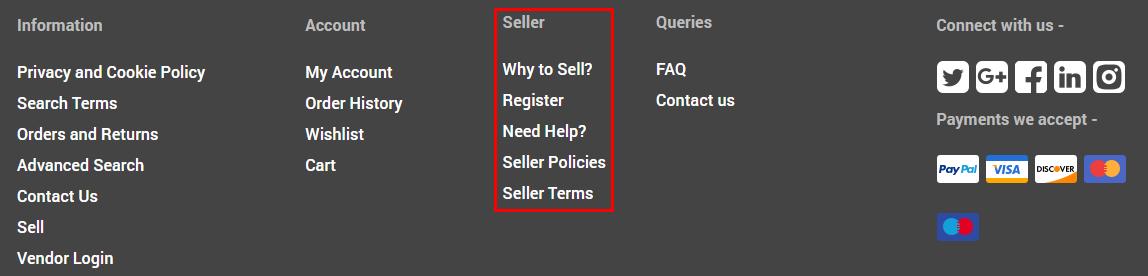 seller footer links storefront