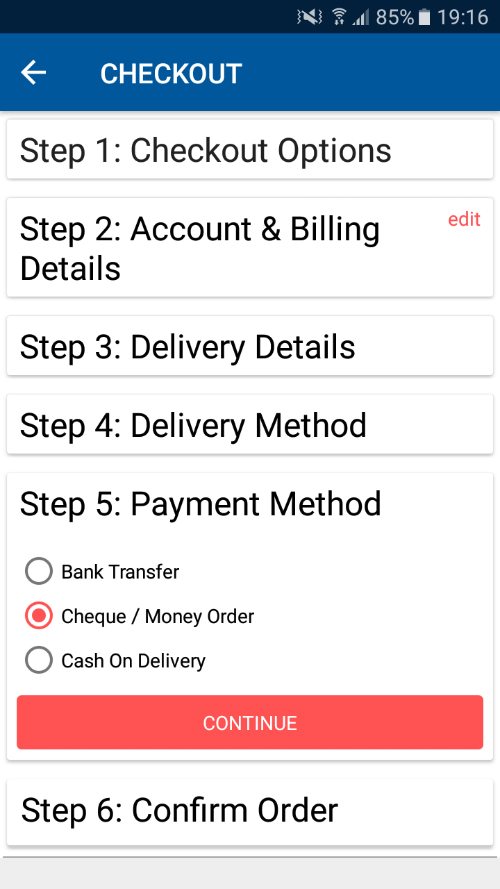Opencart Mobikul Wallet - Complete Other Selections