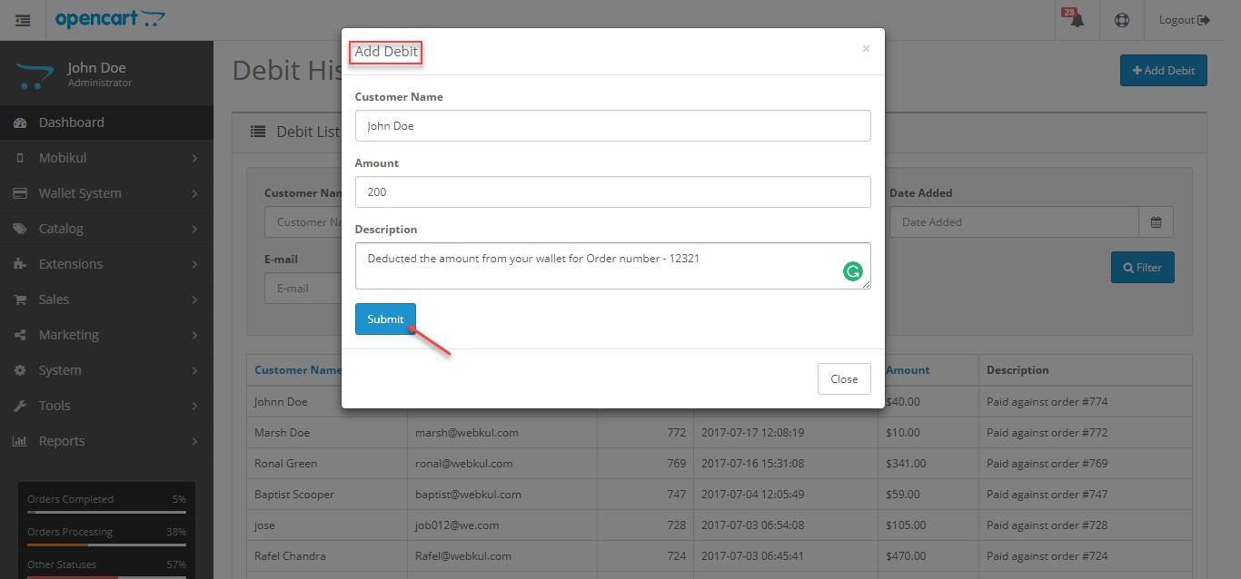 Opencart Mobikul Wallet - Add Debit Details for customer