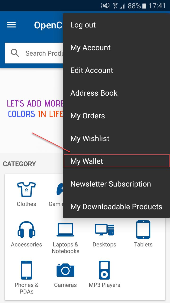 Opencart Mobikul Wallet - My Wallet Menu Option