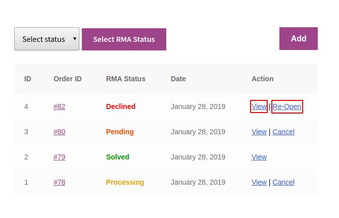 My account – Woocommerce RMA Status