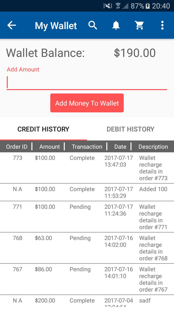 Opencart Mobikul Mobile App - Add Amount to Wallet